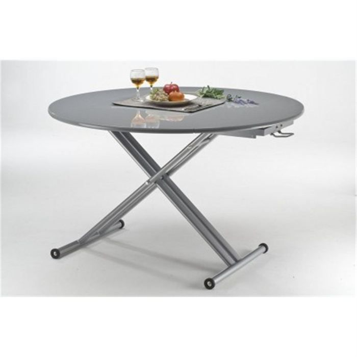 Table relevable ronde celia grise achat vente table - Table ronde grise ...