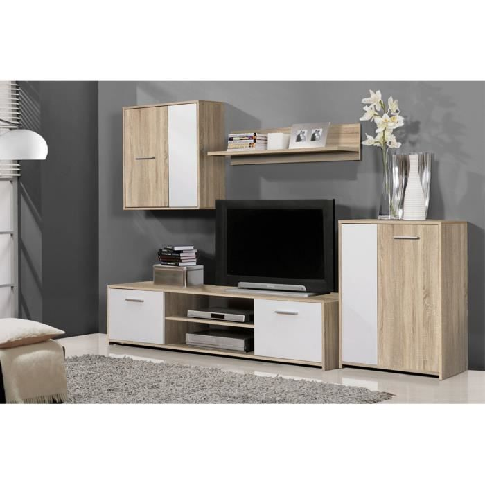 ensemble meuble tv ch ne clair et blanc vanille l. Black Bedroom Furniture Sets. Home Design Ideas