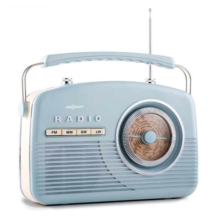 oneconcept nr 12 radio portable fm am r tro fifties bleu achat vente tuner radio oneconcept. Black Bedroom Furniture Sets. Home Design Ideas