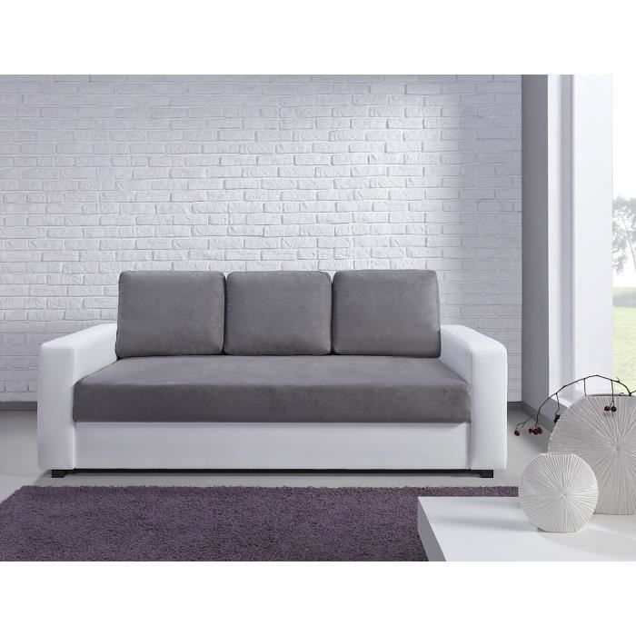canap bi mati re microfibre simili et bicolore tao gris blanc3 places achat vente canap. Black Bedroom Furniture Sets. Home Design Ideas