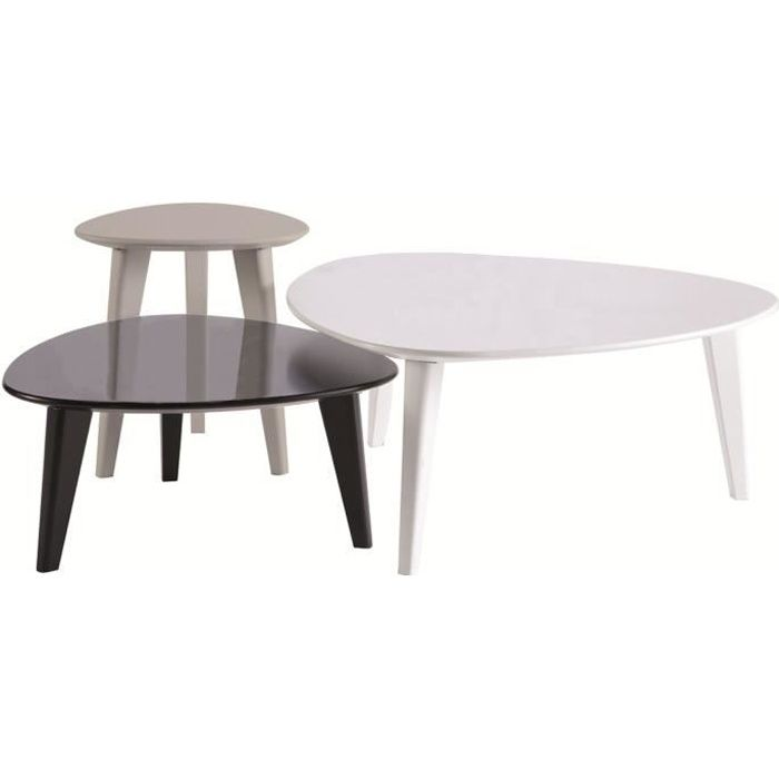lot de 3 tables basses stone blanc noir gris achat vente table basse lot de 3 tables basses. Black Bedroom Furniture Sets. Home Design Ideas