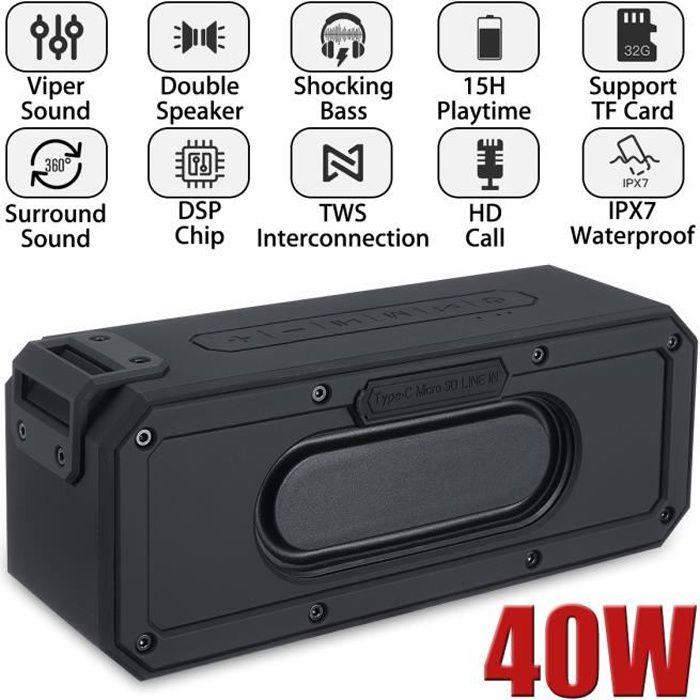 ENCEINTE NOMADE TEMPSA Enceinte bluetooth 5.0 Portable 40W 6600mAh
