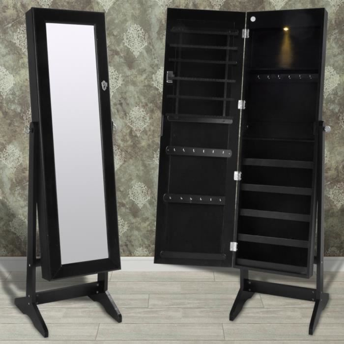 armoire bijoux sur pied avec miroir et clairage led. Black Bedroom Furniture Sets. Home Design Ideas