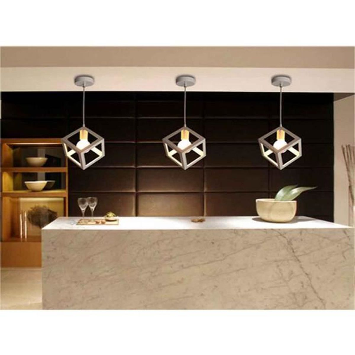 stoex 1pcs suspension luminaire design cube m tal 16cm industriel corde ajustable 110 220v. Black Bedroom Furniture Sets. Home Design Ideas