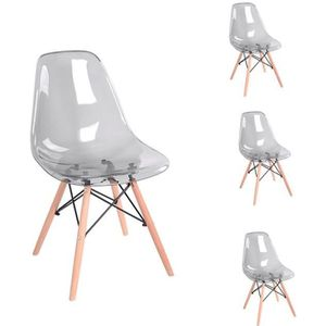 CHAISE Dora Lot de 4 chaises Gris Transparent design tend