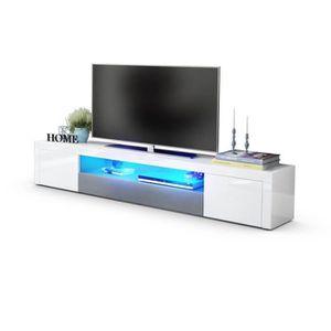 MEUBLE TV Meuble tv design  laqué haute brillance blanc et g