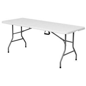 Table de jardin pliante 242cm plastique blanc - L 242 x l 76 ...