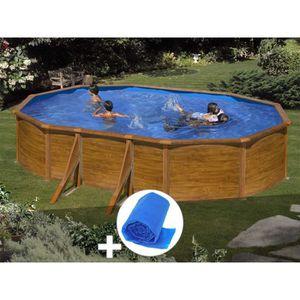PISCINE Kit piscine acier aspect bois Gré Sicilia ovale 5,