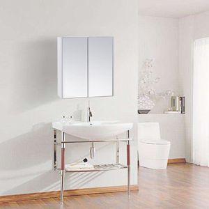 6 Niches 2 pat/ères Armoire Colonne Pivotante de Salle de Bain 2 Miroirs Coloris BLANC