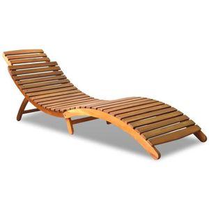 CHAISE LONGUE Magnifique Chaise longue Bois d'acacia massif 190