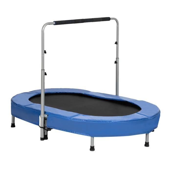 Trampoline fitness pour Deux personne hauteur réglable (142 * 92 * 128)cm Bleu Noir