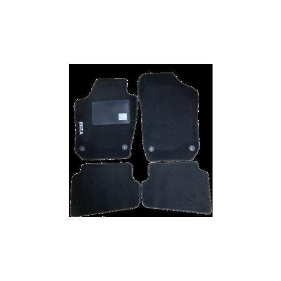 Kit 4 Tapis de sol Auto pour SEAT IBIZA de 2008 à 2017 (6J), sigle IBIZA, avec CLIPS, Neuf.