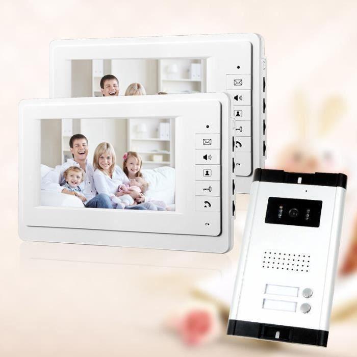 7 - Vidéo Interphone Visiophone Sonnette de Porte d'Appartement Phone System 2 blanc Moniteur Caméra HD Vision Nocturne