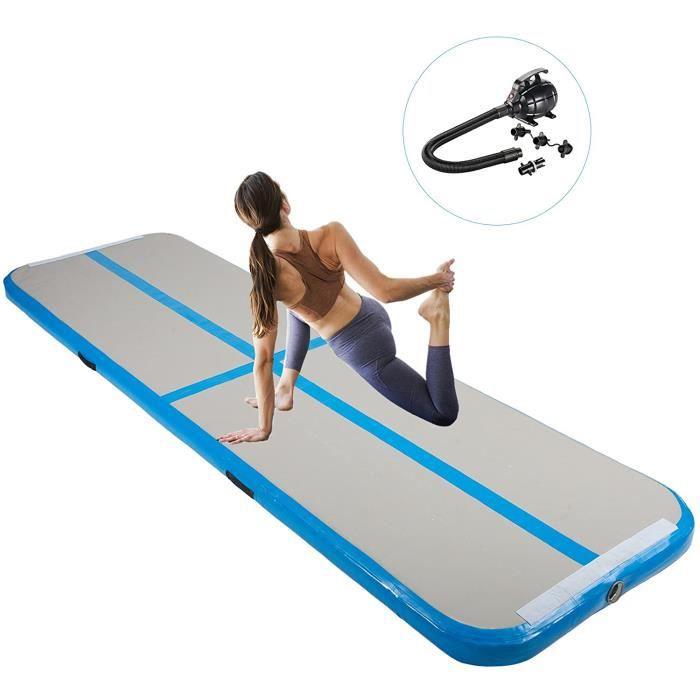 Tapis de Gymnastique Gonflable avec Pompe, 300 x 100 x 10 cm Airtrack Gymnastique Tapis de Tumbling, pour Yoga-Taekwondo Bleu