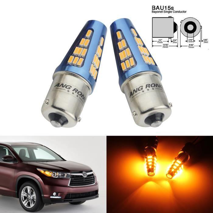 ANGRONG Lot 2 Ampoules 581 BAU15s PY21W 48 SMD LED Voiture Signal Indicateur Clignotants Feu de Recul Orange Jaune 5W 9-30V