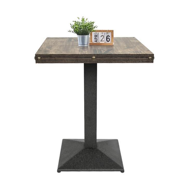 Table bistrot carrée CASNELY Style Industriel, pied en fer forgé, marron