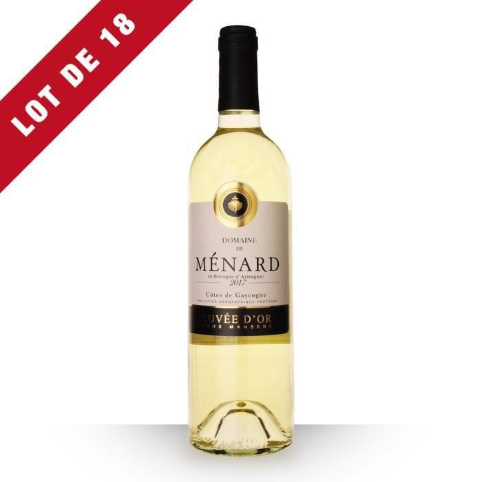 Lot de 18 - Domaine de Ménard Cuvée d'Or 2017 IGP Côtes de Gascogne - 18x75cl - Vin Blanc