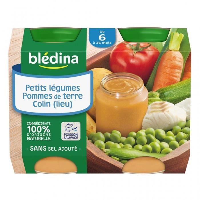 Blédina Petits Légumes Pommes de Terre Colin (de 6 à 36 mois) par 2 pots de 200g (lot de 8 soit 16 p