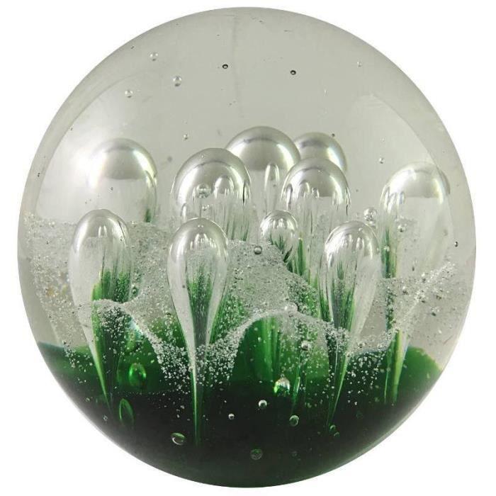 Presse-Papier Sulfure Vert en Verre Algue Transparent en Forme Ronde ø 10 cm