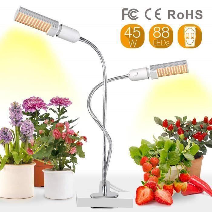 45W Lampe pour Plante, 88 LED Lampe de Croissance avec Double remplaçable Ampoule Spectre Complet Eclairage pour Plantes d'intérieur