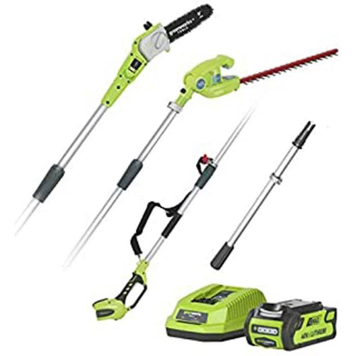 Qc905 Greenworks Coupe-Branche Batterie Et Taille-Haie Télescopique 2En1 G40Pshk2 (Li-Ion 40V 51 Cm - 20 Cm Longueur Épée 18 Mm