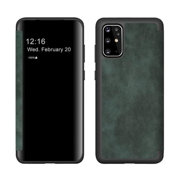 Étui pour téléphone Samsung Galaxy S20 Plus haut de gamme en cuir à rabat créatif (vert nuit foncé)