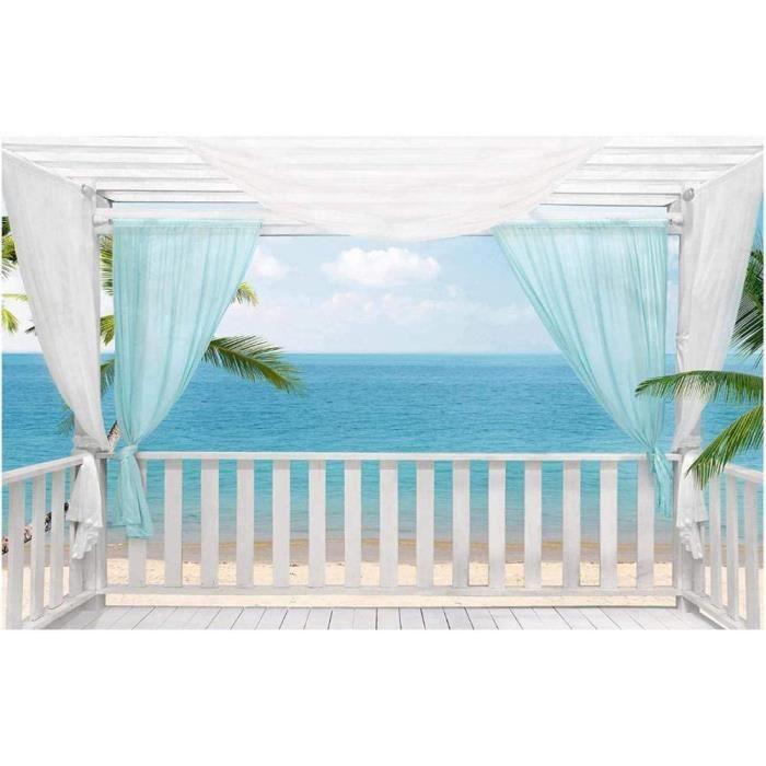 Papier Peint Chambre Enfant Balcon avec vue mer Autocollant Mural Pour Salon Chambre à Coucher Couloir Moderne Espace Vi [2498]