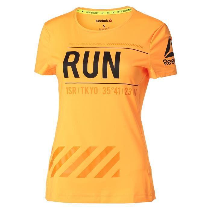 REEBOK T-shirt OSR SS Tee - Femme - Jaune imprimé