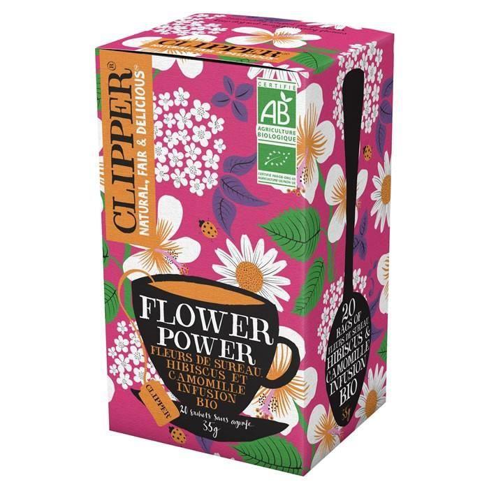 LOT DE 8 - CLIPPER® Flower Power Infusion hibiscus camomille fleurs de sureau bio - 20 sachets