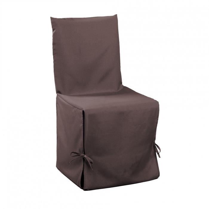 DOUCEUR d'INTERIEUR Housse de chaise unie à nouettes 50x50x50 cm Essentiel brun
