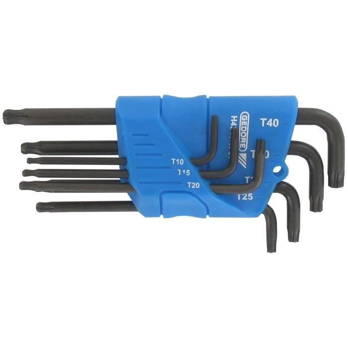 Jeu de 7 clés mâles coudées TORK ® pour vis femelles avec tête sphérique sur le plus long côté