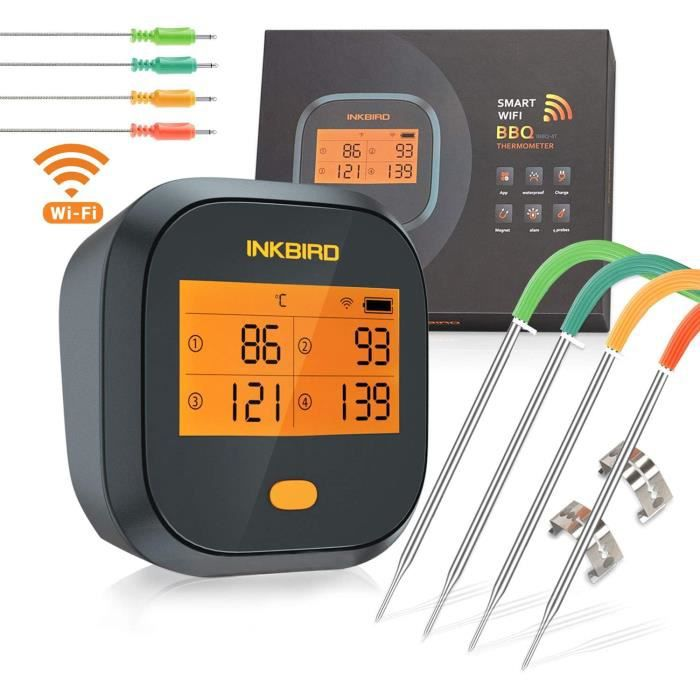 Thermomètre Cuisson WiFi Four Barbecue avec 4 Sonde Temperature Cuisine, Exterieur Interieur Magnétique Rechargeable Inkbird IBBQ-4T