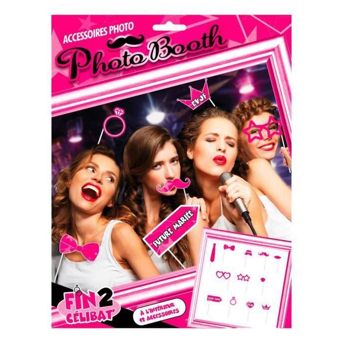 Accessoires Photo booth 'Enterrement de vie de jeune fille' rose (12 pièces) [Q0618]