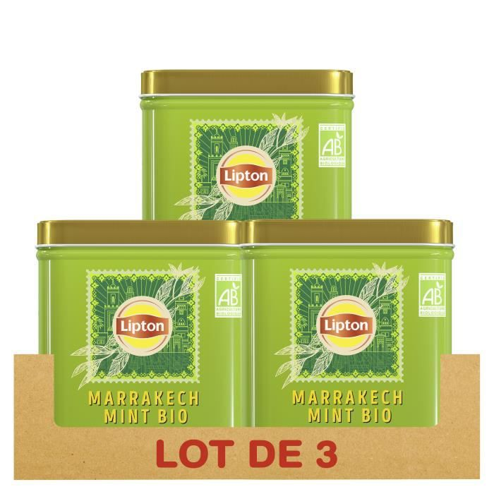 LIPTON - Lot de 3x 145g - Thé Vert Bio Marrakech Mint, Menthe, 100% d'origine naturelle, Agriculture Biologique