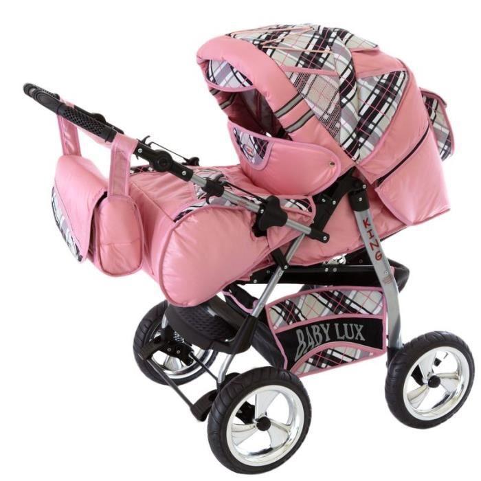 King poussette combinée Set – été (parasol, habillage pluie, moustiquaire, porte-gobelets, matelas, tapis à langer) 71 rose & car...