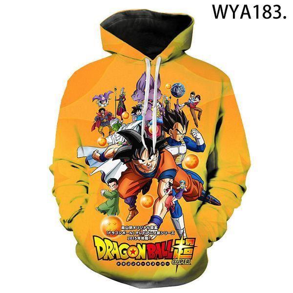 Streetwear homme,Plus récent Anime impression dessin animé sweat à capuche Anime hommes femmes 3D marque sweat-shirt dragon ball Z