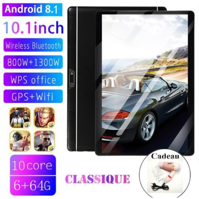 10.1 pouces 10 Core Tablette Pc 6 Gb Ram 64 Gb Rom Android 8.1 Wifi Bluetooth Double Cartes Tablettes