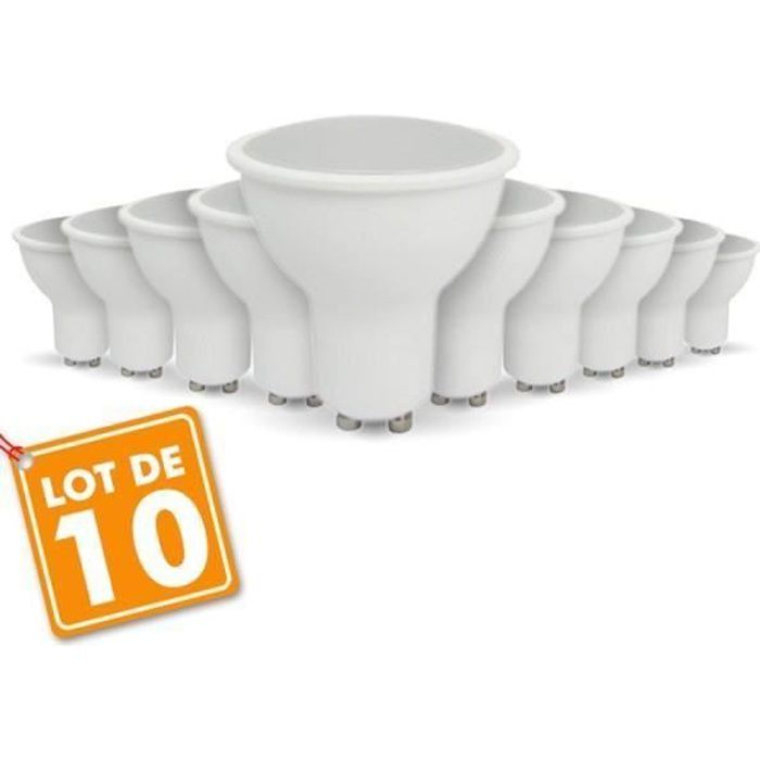 Lot de 10 ampoules LED GU10 5W eq 40W Blanc naturel