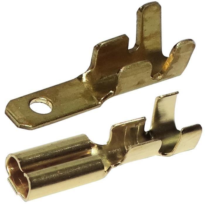 Aerzetix 100x Cosses /électriques m/âle plate 4.8mm 0.5mm 0,1-1mm2