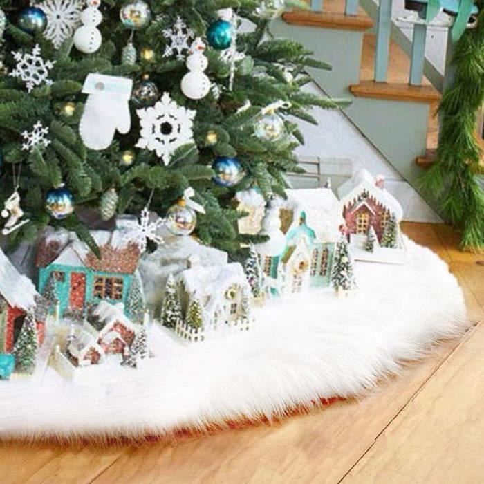 Jupe Sapin De Noel 90 cm Feerie Christmas Tapis pour Sapin de Noël en Fourrure Gris Diam