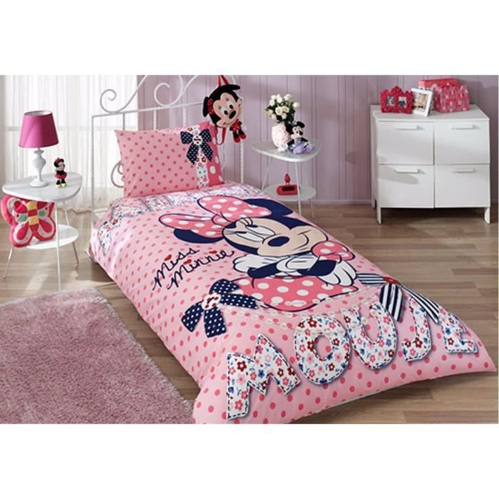 tac parure de lit disney minnie dream rose 1 personne 100 coton 3 pcs housse de couette. Black Bedroom Furniture Sets. Home Design Ideas