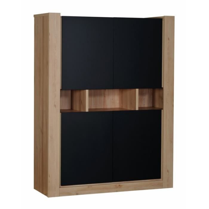 armoire de salon 4 portes noir norton l 130 x l 45 x h 170 cm achat vente armoire de. Black Bedroom Furniture Sets. Home Design Ideas