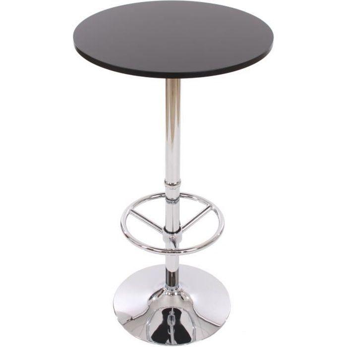 table de bar table haute bari ronde avec repose pied 109x60x60cm noir