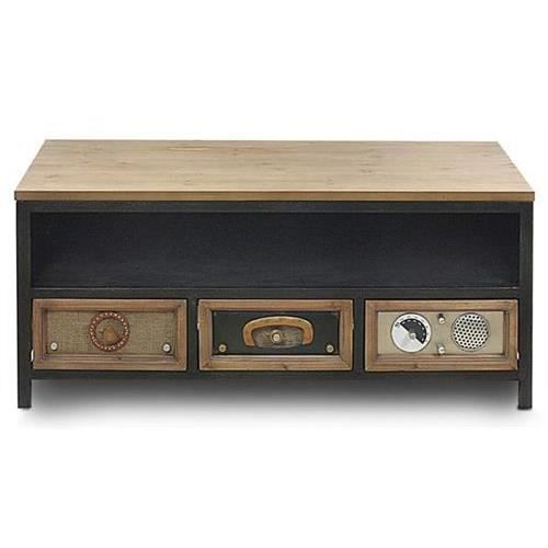 meuble tv vintage en bois 103x44 cm achat vente meuble tv meuble tv vintage en bois. Black Bedroom Furniture Sets. Home Design Ideas