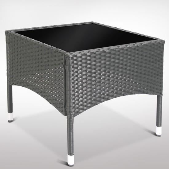 Table en poly rotin avec plateau de verre rttt03 gris for Table ronde rotin plateau verre