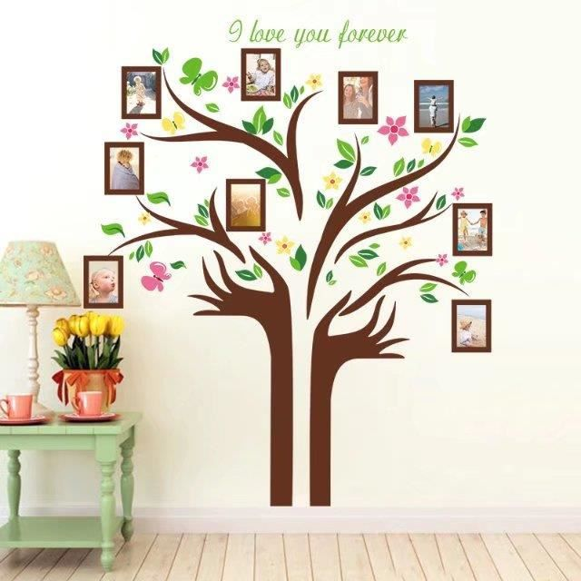 Mouton maison deco sticker mural grand arbre de cadres de photos sapplique sur toute surface lisse facile à installerdécollez