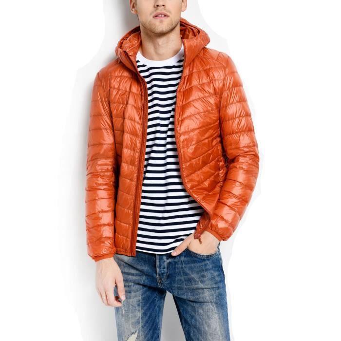 Orange Mode Doudoune Homme Garçon Hiver à Capuche Slim