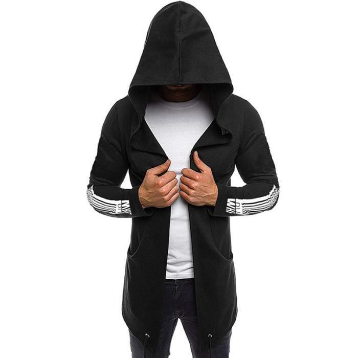 Cardigan à Capuche Homme Sweatshirt Veste Manche Longue Noir Style Cape Mystérieux Automne Hiver