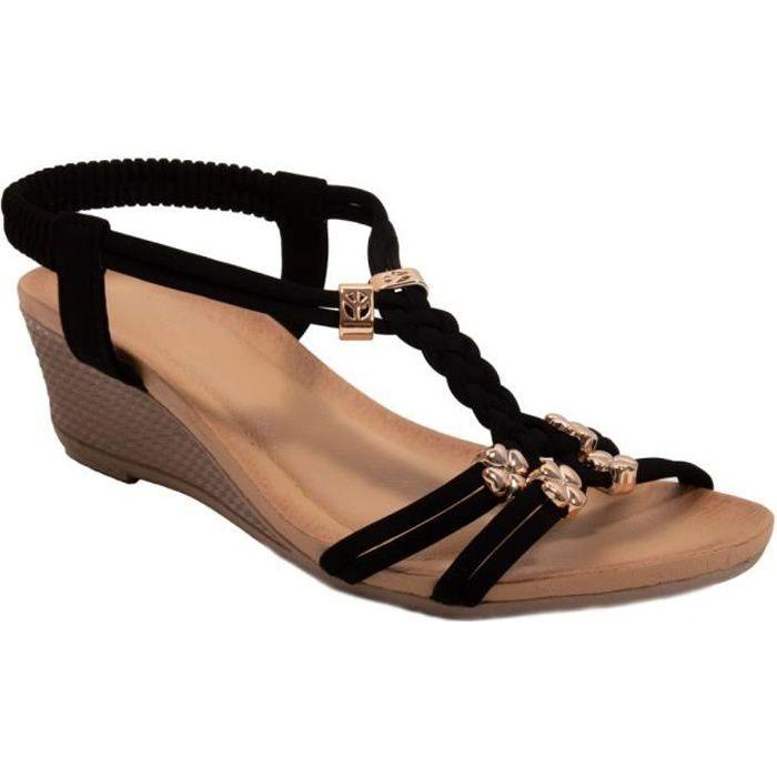 Femme talon bas compensé sandales brides à boucle et bout ouvert pointure