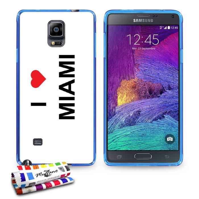 coque souple bleue pour samsung galaxy note 4 motif i love. Black Bedroom Furniture Sets. Home Design Ideas